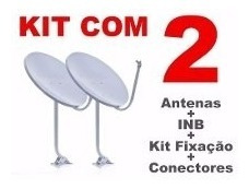 Kit 2 Antenas Satélite 60cm Ku+40m Cabo+lnb Universal Simple