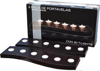 Minimalista 2 Pack Porta Velas 100% Madera Hogare