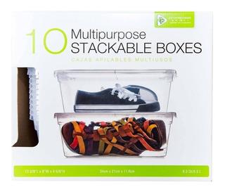 Set 10 Cajas Apilables Plásticas Transparentes Con Tapa
