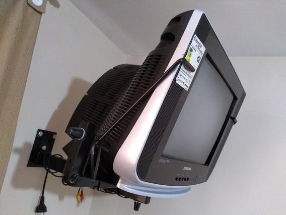 Tv Samsung 14com Conversor Digital, Antena Suporte Completa