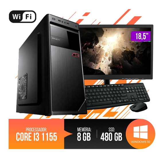 Pc Completo Intel Core I3,8gb Ram Ddr3,ssd 480gb+ Nf Inclusa