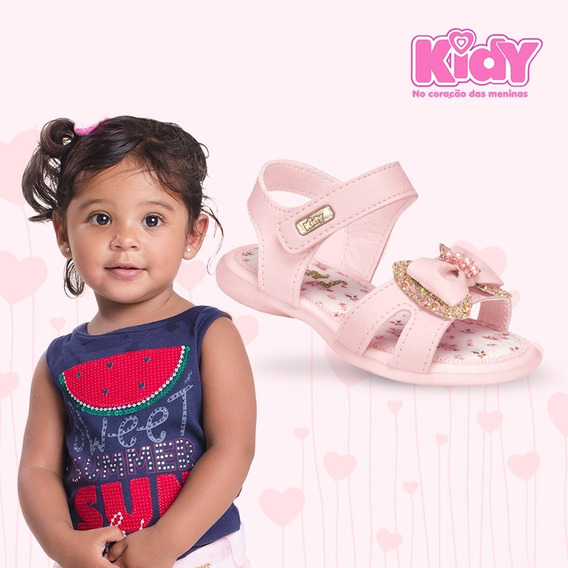 Sandália Infantil Menina Kidy 00206494005 Rosa Laço 2019