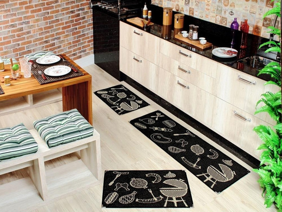 Kit Cozinha Tapete Lancer Sisal 3 Peças Antiderrapante Cores