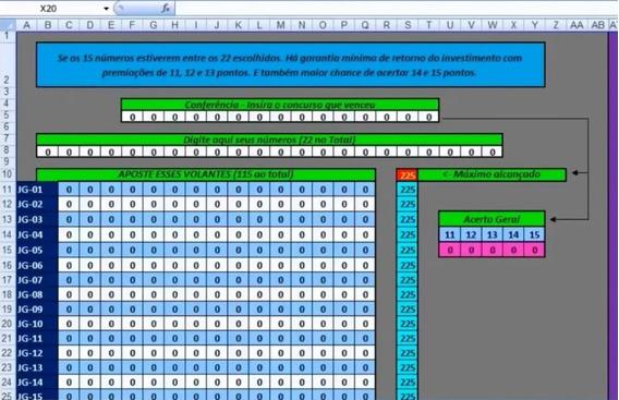 Planilha 22 Dezenas 115 Jogos Com Retorno!