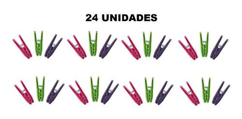 Prendedores Pregadores De Roupas Varal Kit Com 24 Unidades