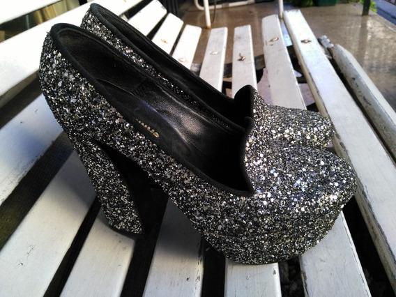 Zapatos Ricky Sarkany Plateados Artesanales.t:39.nuevos