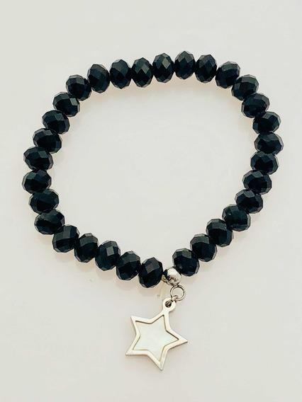 Pulsera De Estrella Con Perlas Acrílicas Negras.