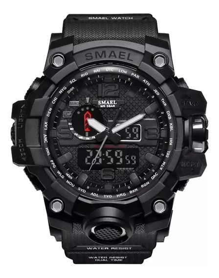 Relógio Masculino Militar Smael 1545 Preto Borracha + Caixa