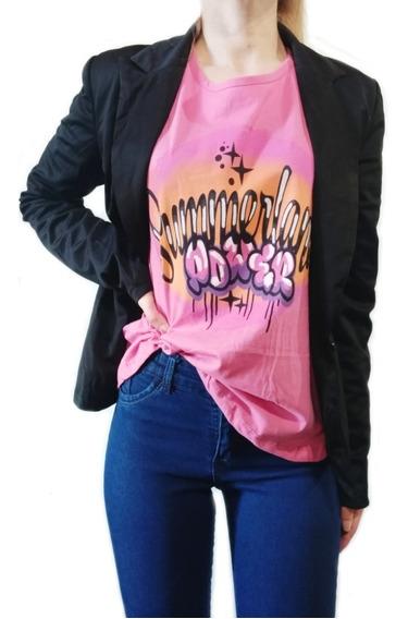 Remera De Mujer Con Estampa Gris // Rosa - Talle S/m