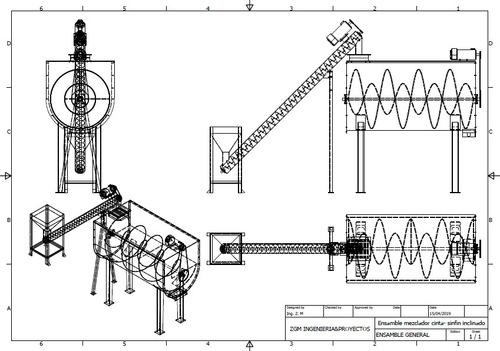 Imagen 1 de 4 de Planos Mezclador Horizontal Doble Cinta Helicoidal 2000 Kg/h