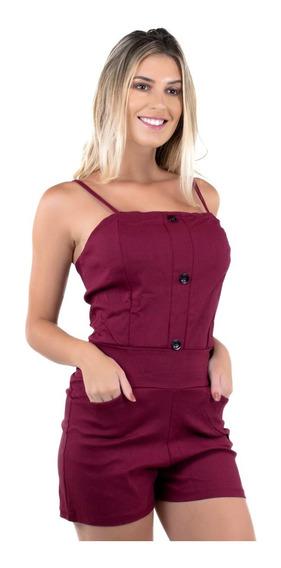 Kit 3 Macaquinho Botões Curto Feminino Moda Trend Verão 339
