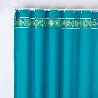 Cortina Para Baño Bordada Carey Azul Vianney Envio Gratis