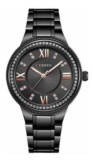 Relógio De Pulso Feminino Curem 9004 Com Pedrarias