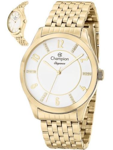 Relógio Champion Feminino Dourado Numeros Original Nf