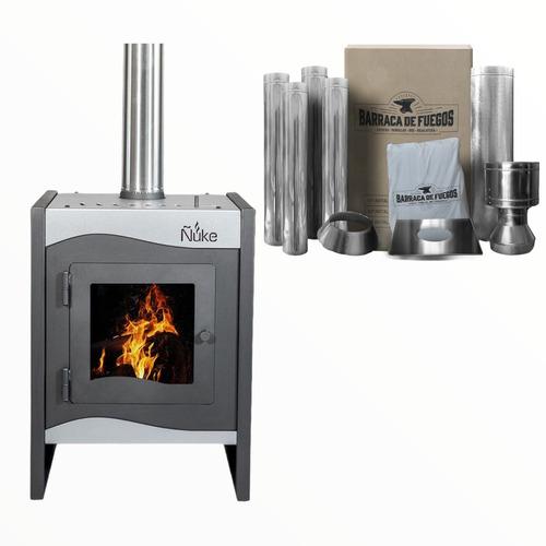 Estufa Calefactor A Leña Ñuke Wichi 50 + Kit Instalación