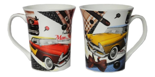 Carros Vintage Retro Taza Porcelana Vaso Tarro Caja Decorada