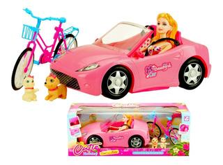 Carro Barbie Convertible Bicicleta Barbie Y Mascota Juguete