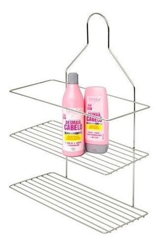 Imagem 1 de 3 de Suporte Shampoo Aramado Duplo Cromado Registro