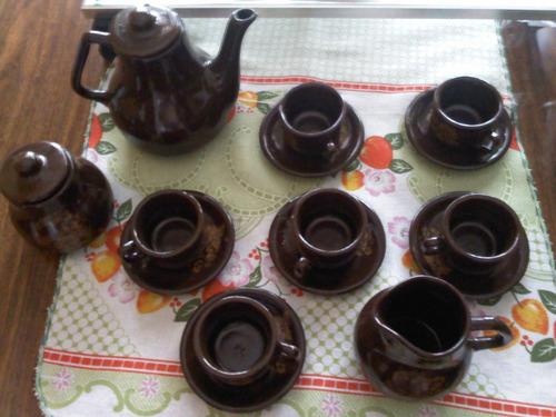 Jogo De Café Marrom Antigo Decada De 80 Novo