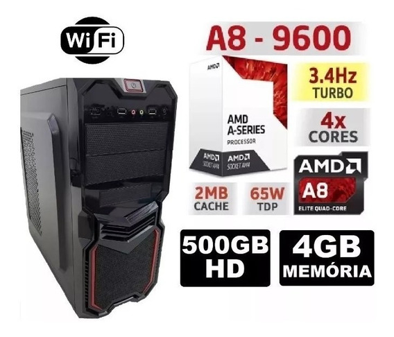Pc Cpu Gamer Amd A8 9600 3.4ghz 4gb Hd 500gb Radeon R7 Ddr4