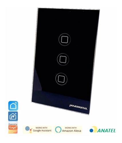 Interruptor Digital Wifi Preto 3t & Rf433 - Alexa - Anatel