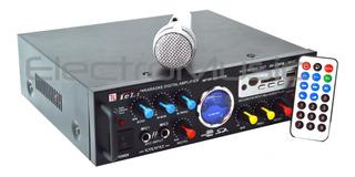 Amplificador Potencia Usb Mp3 Radio Fm 2 Canales Karaoke + Micrófono De Regalo Spe