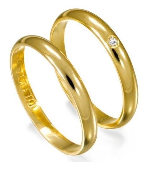Par Alianças Ouro 18k 750 Clássica 3 Gramas 2,5mm 1 Diamante