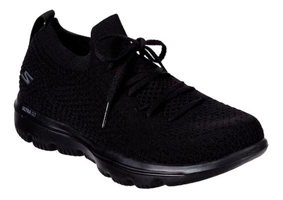 Tenis Skechers Negros Para Caminar-mujer