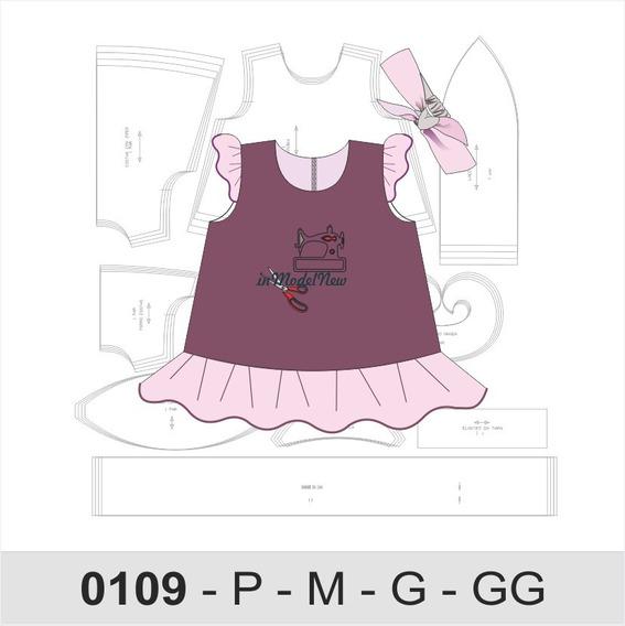 Molde Digital De Vestido Trapézio Com Tiara Bebê
