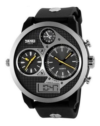 Relógio Masculino Skmei Anadigi 1033 Preto E Amarelo