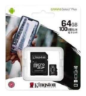 Micro Sd 64 Gb Kingston Original Con Adaptador
