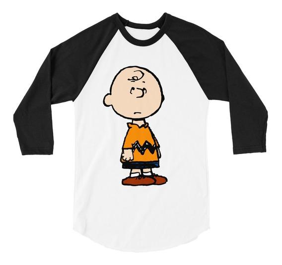 Playera Raglan 3/ Charlie Brown Snoopy Peanuts