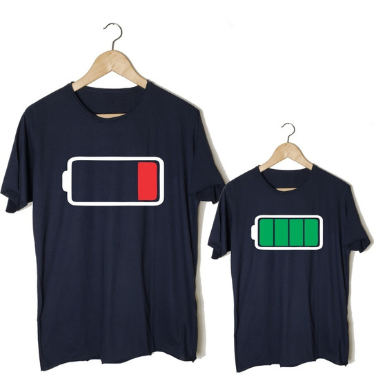 Camiseta Kit Pai(mãe) E Filho - Camiseta Bateria Fraca