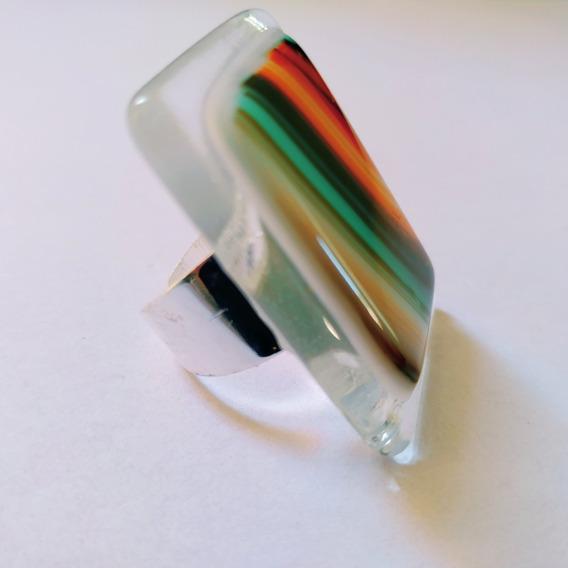 Anillo Grande Multicolor Moderno Vidrio Arcoiris