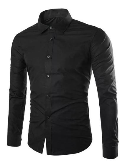 Pack X 5 Camisas Lisas Entalladas Elástizadas Slim Fit