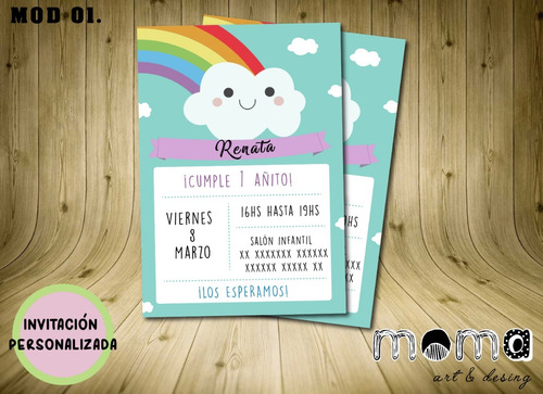 Invitaciones Imprimibles Y Digitales P/ Whatsapp - Arcoiris