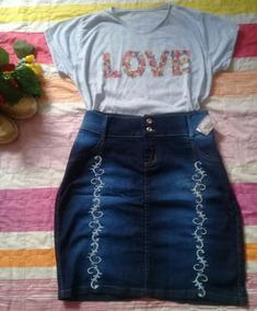 Conjunto Saia Jeans Com Listras E Blusa Tshirt Evangelica