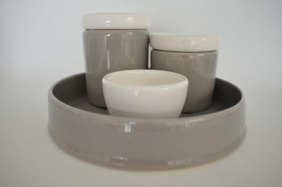 Kit Higiene Cerâmica 4 Peças Color Porcelana