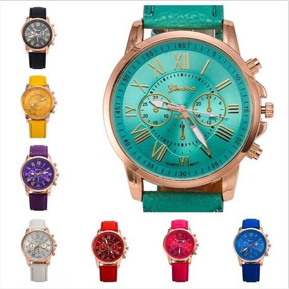 Reloj Geneva Mayoreo Mujer Piel Vinil Moda Dama Calidad