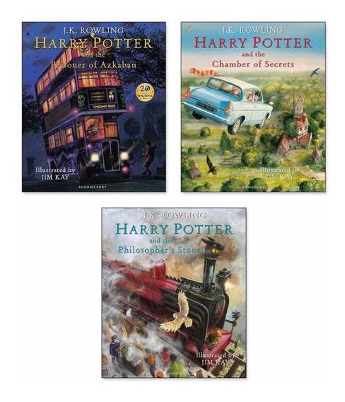 Harry Potter Coleção Ilustrada Livros 1-3 Importado Brindes