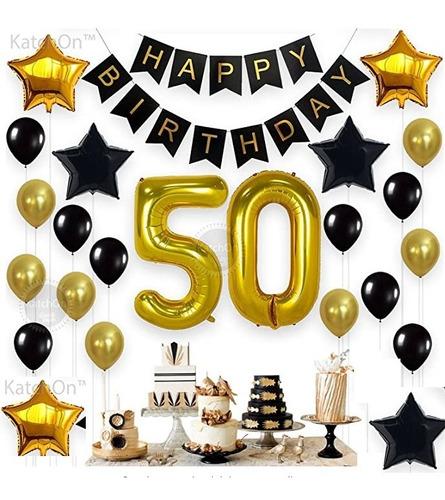 Kit Decoración Cumpleaños 50 Años Dorado
