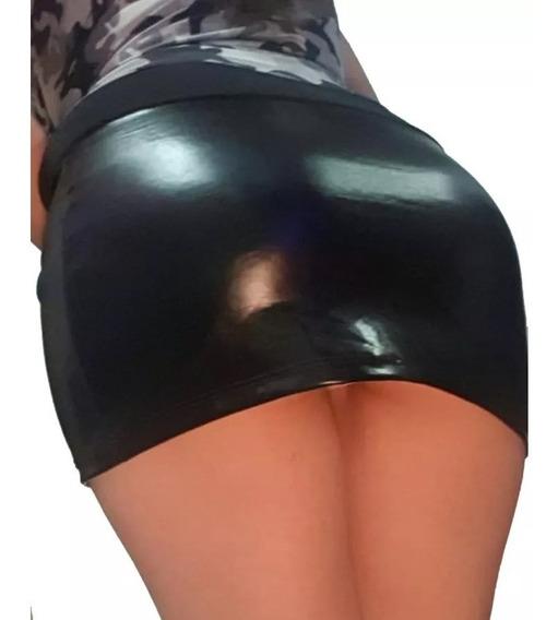 Minifalda Negra De Vinil Super Sexy + Regalo Sorpresa