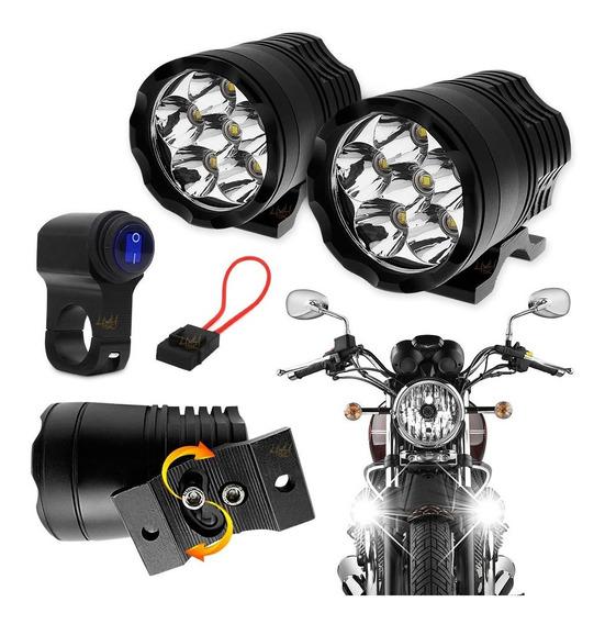 Farol De Led Moto Milha Aux 60w+ 60w 10.000lm + Controle Prova Agua Luz Tp Xenon Forte P/ Bmw Gs 800 1200 Gs G 310 Par