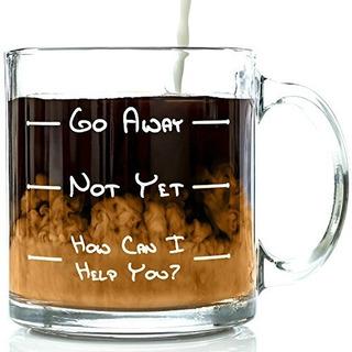Go Away Funny Glass Coffee Mug 13 Oz Ã¿nico Regalo De Cump