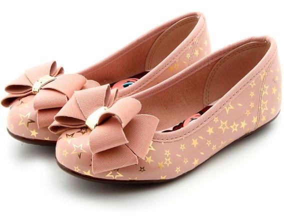 Sapatilha Molekinha Verniz Estrelas Metal Com Laço Rosa E Dourado - 2099.669
