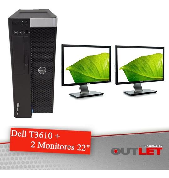 Workstation Dell Precision T3610 + 2 Monitores Dell 22