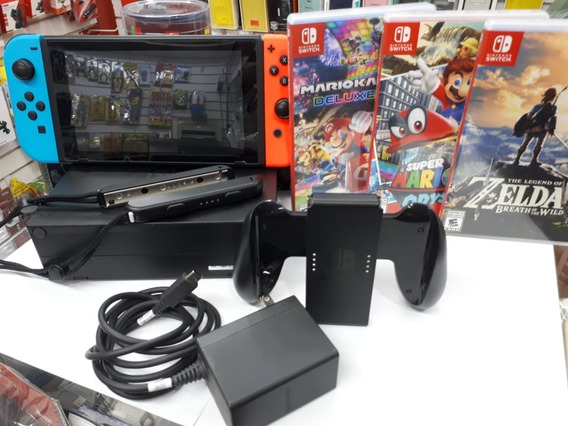 Nintendo Switch 32gb Standard + 3 Jogos E Com A Case Prot