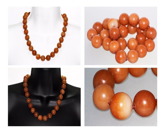 Collar Corto Piedra Natural Dama Mujer Ágata Naranja Ccpn23