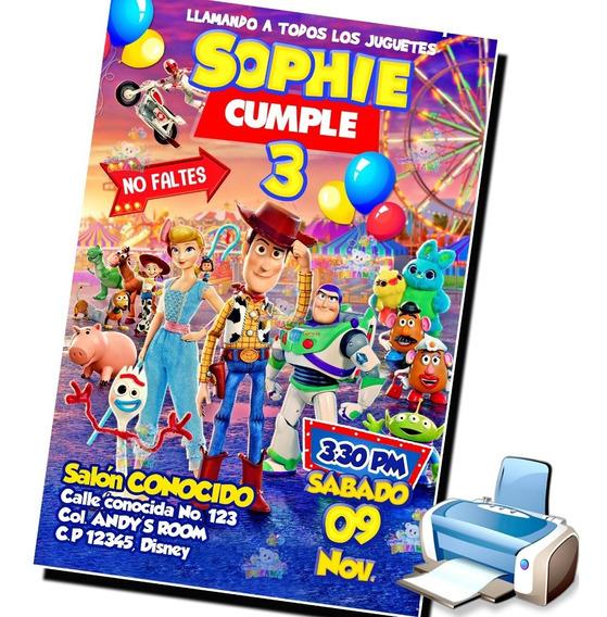 Invitacion Toy Story 4 Cumpleaños Digital Imprimible Woody