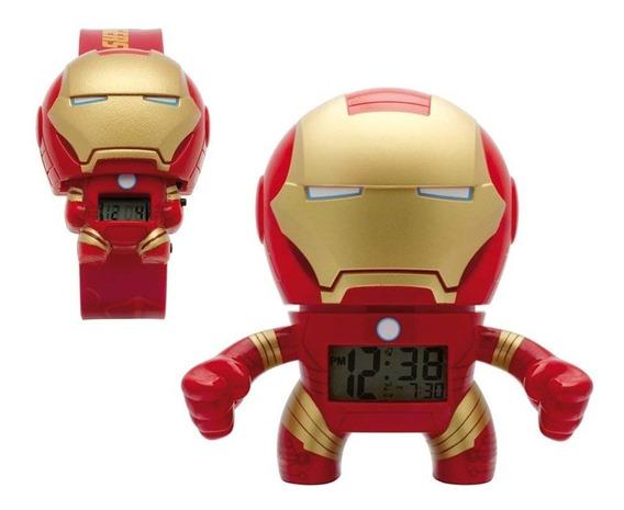 Despertador Iron Man Avengers 19cm Con Reloj De Pulso Niño